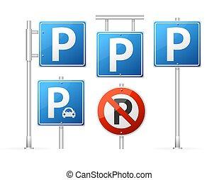 detalhado, set., sinal, realístico, vetorial, estacionamento, estrada, 3d