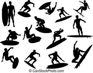 detalhado, silhuetas, surfista