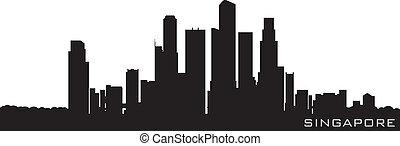 detalhado, silueta, cingapura, ásia, vetorial, skyline.