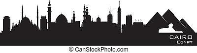 detalhado, silueta, egito, cairo, skyline, vetorial