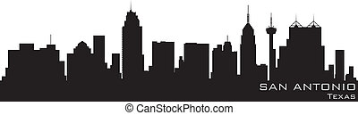 detalhado, silueta, san, vetorial, skyline., antonio, texas