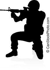 detalhado, soldado, alto, silueta, qualidade