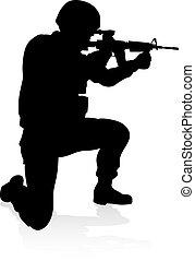 detalhado, soldado, silueta, militar