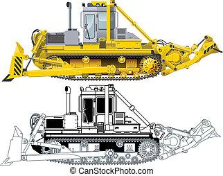 detalhado, vetorial, buldozer