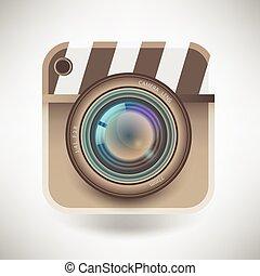 detalhado, vetorial, isolado, ilustração, único, câmera, ícone