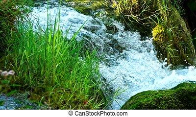 detalhado, vista, de, a, bonito, cachoeiras, em, plitvice,...