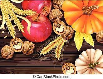 detalhado, vistas, madeira, maçã, abóbora, outono, experiência., vetorial, cartão, realístico, 3d, colheita, topo, walnuts., design.