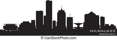detalhado, wisconsin, vetorial, milwaukee, skyline., silueta
