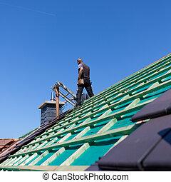 detalhe, de, a, construção, de, um, novo, telhado