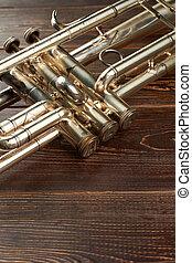 detalhe, de, antigas, trompete, instrument.