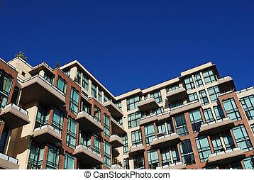 detalhe, de, modernos, edifício apartamento