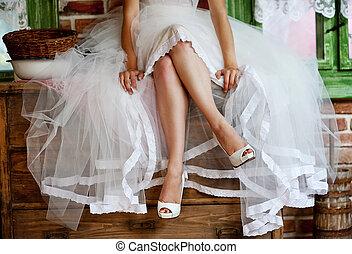 detalhe, de, nupcial, pernas, com, sapatos