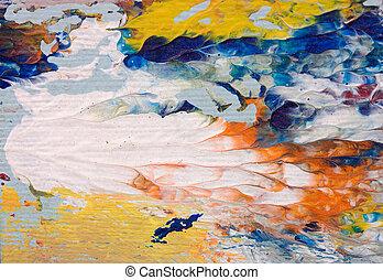 detalhe, de, pintura óleo