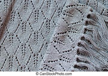 detalhe, de, tecido, artesanato, tricote, cinzento, suéter