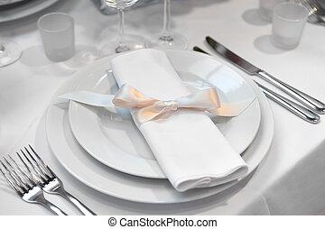 detalhe, de, um, casório, ajuste jantar