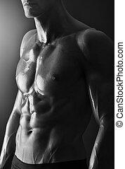 detalhe, de, um, jovem, shirtless, muscular, homem