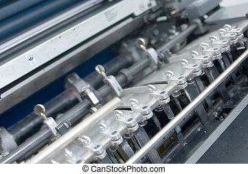 detalhe, de, um, prensa impressão, 1
