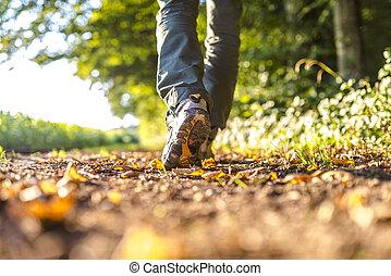 detalhe, hiking, homem