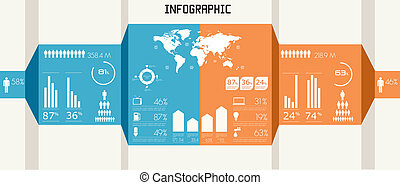 detalhe, infographics, set.