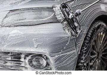 detalhe, ligado, car, frente, coberto, em, sabonetes, espuma, lavado, com, escova, em, carwash.