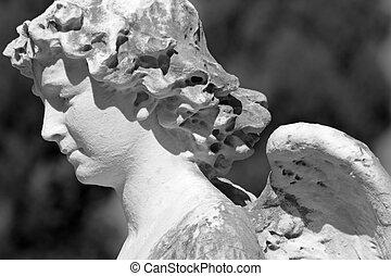 detalhe, monumental, anjo, itália, escultura, cemitério, antigüidade, europa