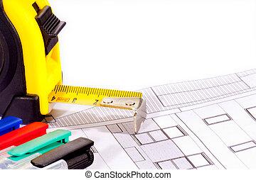 detalhes, de, arquitetura, ferramentas, e, construção, planos