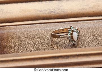 detalje, i, antik, ring