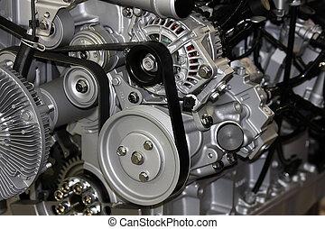 detalje, i, den, vogn motor