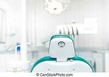 detalje, i, tandlæge stol, hos, lokale, dentale, menig,...