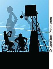 detaljerad, basketboll, silhuett, rullstol, män, ...