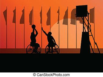 detaljerad, basketboll, silhuett, rullstol, män, ung, ...