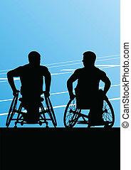 detaljerad, begrepp, silhuett, rullstol, män, illustration, ...