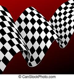 detaljerad, brocket, realistisk, begrepp, bakgrund., flagga, vektor, tävlings-, kort, 3