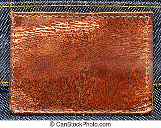 detaljerad, brun, bra, denim, läder, årgång, blå, högt, mörk, närbild, bakgrund, tom, grungy, etikett