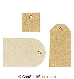 detaljerad, brun, säljande, etc., higly, isolerat, använd, tre, papper, bakgrund, sätta, tom, färsk, grov, vit, märken, kläder