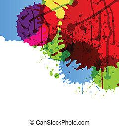 detaljerad, färg, abstrakt, illustration, måla, stänk, ...