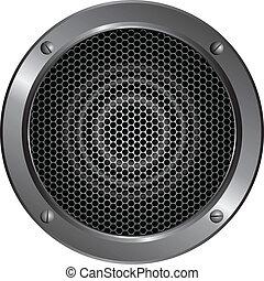 detaljerad, högtalare, ikon