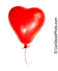 detaljerad, hjärta, klippning, balloon, isolerat, en, bakgrund, bana, vit röd