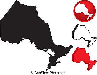 detaljerad, karta, kanada, ontario