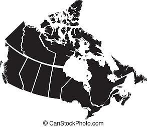 detaljerad, karta, områden, kanadensare