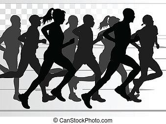 detaljerad, kvinna, illustration, maraton, aktiv, gångmatta...
