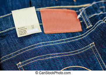 detaljerad, läder, etikett, närbild, tom, grungy