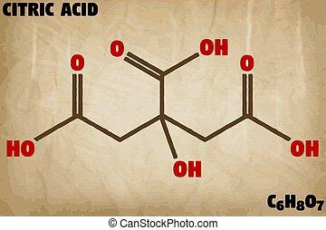 detaljerad, molekyl, sur, citronsyra, illustration