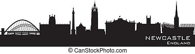 detaljerad, silhuett, england, vektor, skyline., newcastle