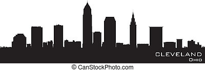 detaljerad, silhuett, vektor, ohio, skyline., cleveland