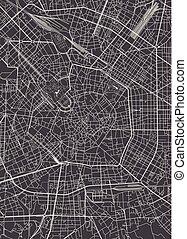 detaljerad, stad kartlagt, milan, vektor, plan