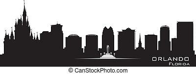 detaljerad, stad, silhuett, orlando, florida, skyline.