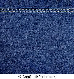detaljerad, struktur, jeans, högt