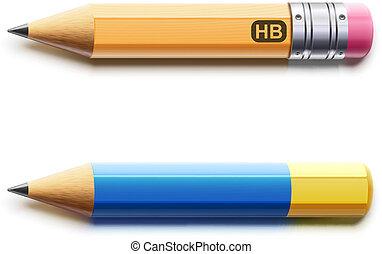 detaljerad, två, skärp, blyertspenna