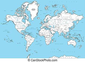 detaljerad, värld, politisk, karta
